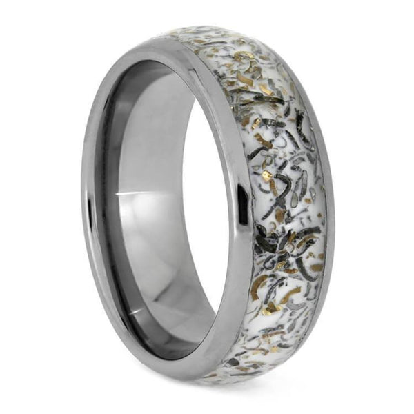 The Men's Jewelry Store (Unisex Jewelry) White Stardust with Meteorite and 14k Yellow Gold 7mm Comfort-Fit Titanium Band