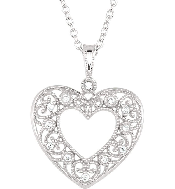 "12-Stone Diamond Heart Filigree Pendant Necklace, Sterling Silver, 18"" (1/10 Ctw)"
