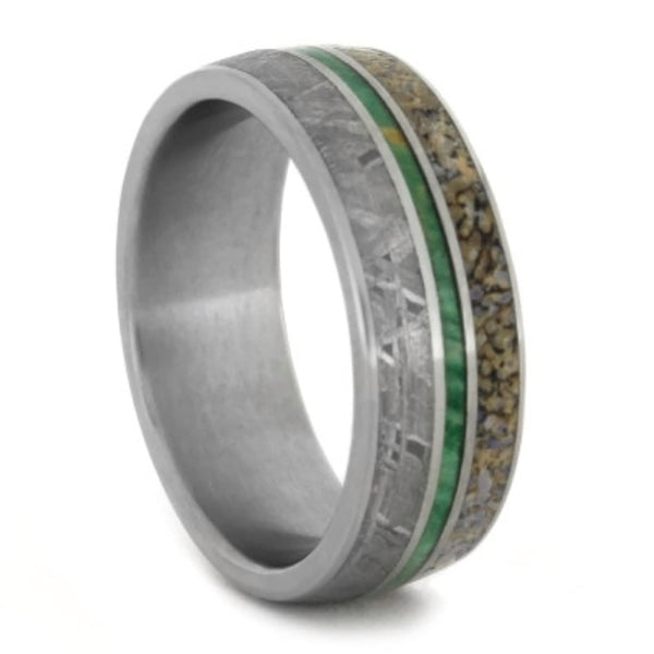 Gibeon Meteorite, Green Box Elder Burl Wood, Dinosaur Bone 8mm Comfort-Fit Matte Titanium Wedding Band