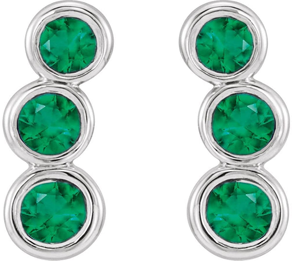 Emerald Three-Stone Ear Climbers, Sterling Silver