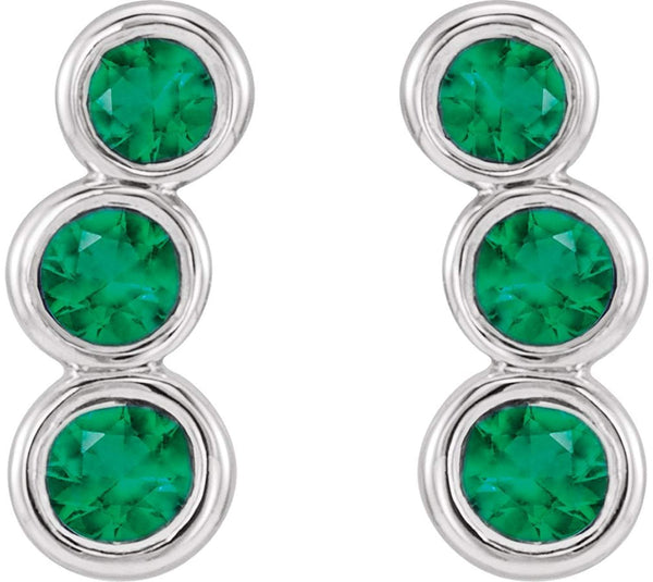 Emerald Three-Stone Ear Climbers, Rhodium-Plated 14k White Gold