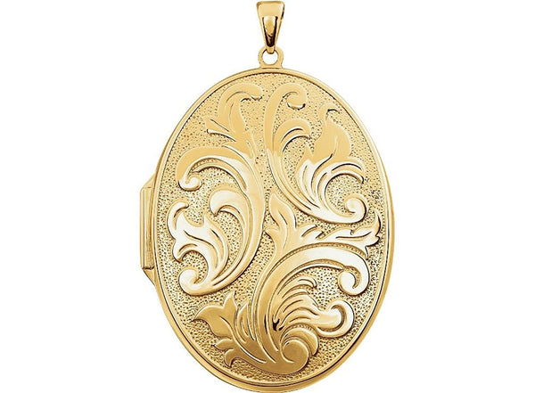 Yellow Gold Plate Sterling Silver Engraved Oval Locket
