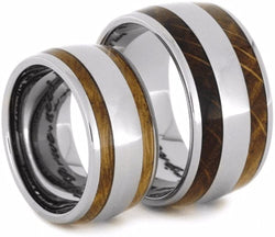 Oak Whiskey Barrel Wood, Titanium Stripe Inlay and His and Hers Titanium Wedding Band Set, M10.5-F8.5