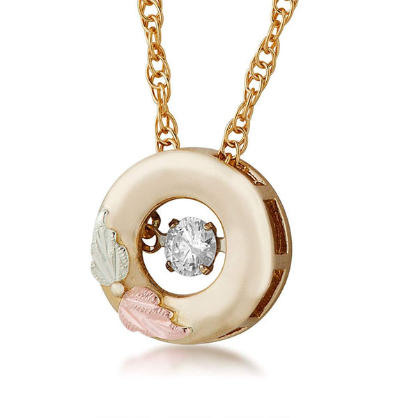 "Glimmer Diamond Circle Pendant Necklace, 10k Yellow Gold, 12k Green and Rose Gold Black Hills Gold Motif, 18"" (.1 Ct)"