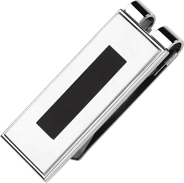 Mens Stainless Steel and Black Enamel Money Clip