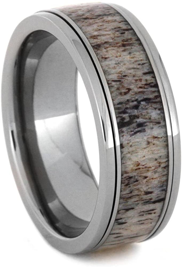 Deer Antler Spinner Ring, 8mm Comfort-Fit Titanium Ring, Size 12.75