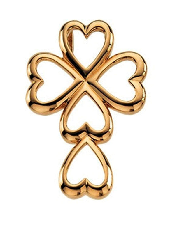 Cross and Heart 14k Yellow Gold Pendant (28.75X20.00 MM)