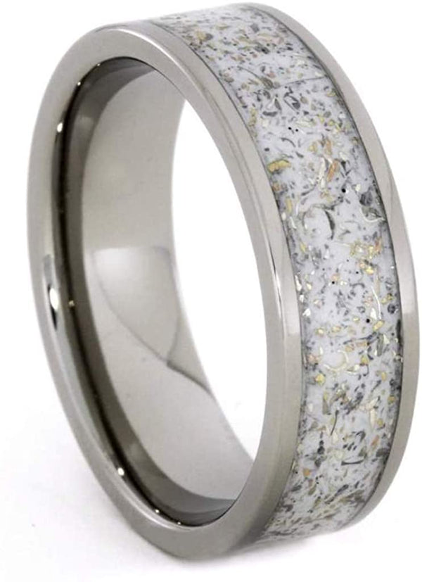 Couples White Stardust Titanium Band and Black Stardust Titanium Band with Meteorite and Gold Set Size, M10-F4.5