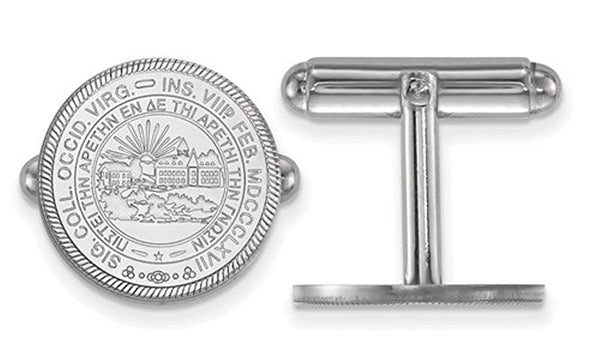 Rhodium-Plated Sterling Silver West Virginia University Crest Cuff Links, 15MM