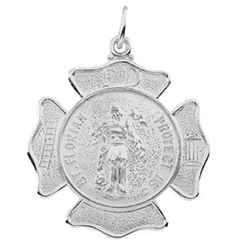 14k White Gold St. Florian Medal Shield, Patron Saint of Fire Fighters