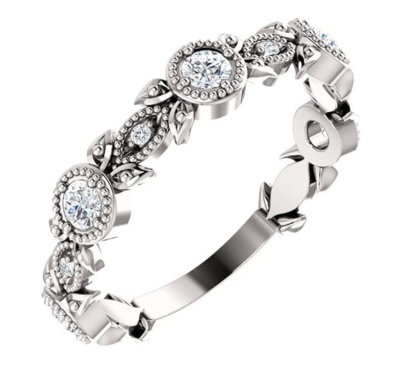 Diamond Vintage-Style Ring, Rhodium-Plated Sterling Silver (0.33 Ctw, G-H Color, I1 Clarity)