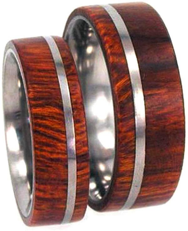 Arizona Ironwood Overlay, Titanium Pinstripe Ring, His and Hers Wedding Band Set, M13-F4.5