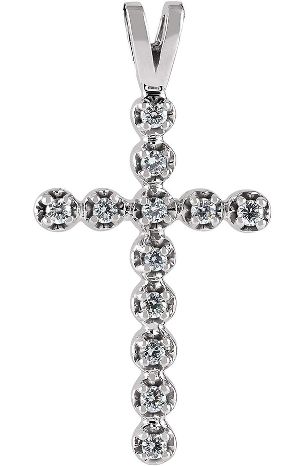 12-Stone Diamond Cross Pendant, Rhodium-Plated 14k White Gold (.18 Ctw, G-H Color, SI1 Clarity)