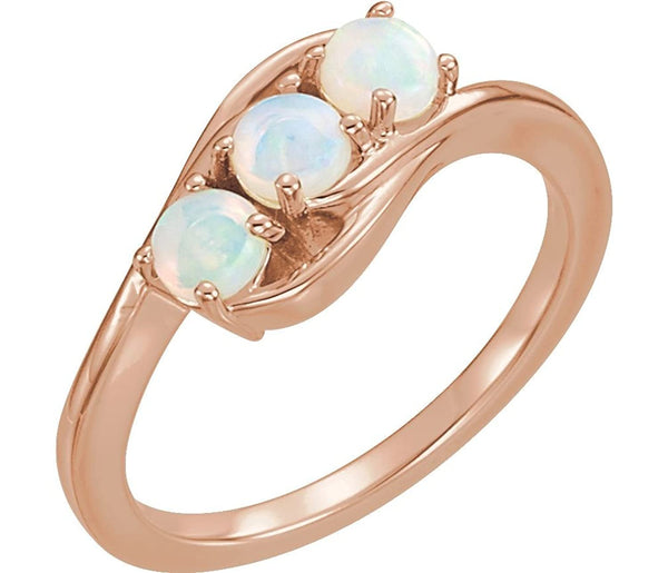 Opal Cabochon 3-Stone Past, Present, Future Ring, 14k Rose Gold, Size 6.5