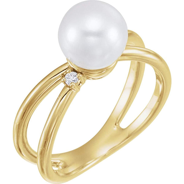 White Freshwater Cultured Pearl, Diamond Ring, 14k Yellow Gold (8-8.5 mm)(.04 Ctw, Color G-H, Clarity I1)