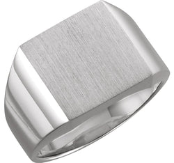 Men's Brushed Signet Ring, Rhodium-Plated 18k White Gold (18mm) Size 11.5