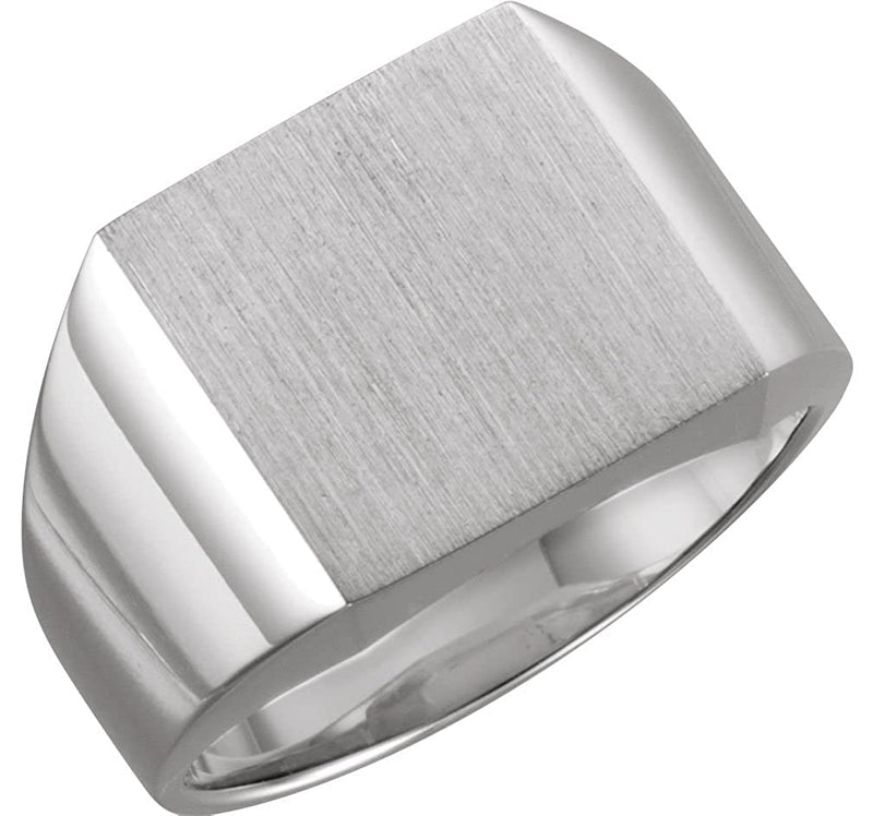 Men's Brushed Open Back Signet Semi-Polished 10k White Gold Ring (18mm)