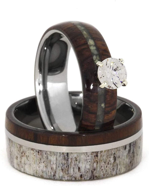Ladies Diamond, Mother of Pearl, Ironwood 10k White Gold Ring and Men's Deer Antler, Ironwood Titanium Band, Couples Wedding Set, M814-F7