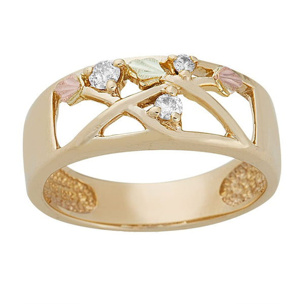 Three-Stone Diamond Journey Band, 10k Yellow Gold, 12k Green and Rose Gold Black Hills Gold Motif (.125 Ctw)