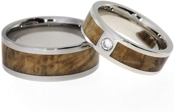 Diamond Solitaire, Black Ash Burl Engagement Ring, Black Ash Burl Titanium Band, His and Hers Wedding Band Set, M9-F5