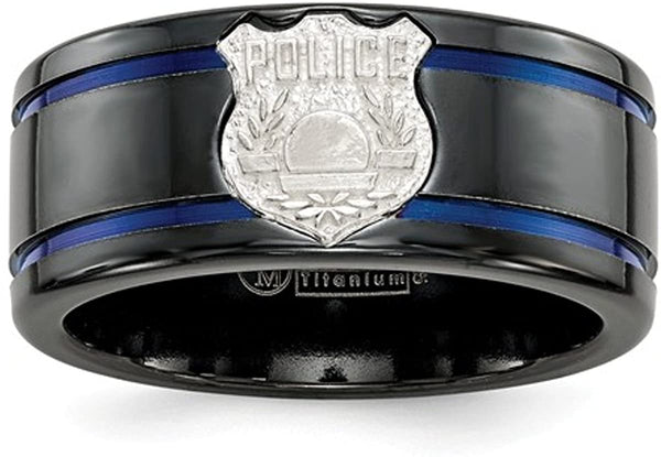 Edward Mirell Black Titanium Blue Anodized with SS Police Shield Tag 10mm Flat Band, Size 8