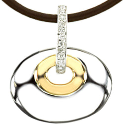 "Diamond Oval Pendant 14k Yellow Gold and Sterling Silver Necklace, Brown Leather Cord, 18"" (.07 Ctw)"