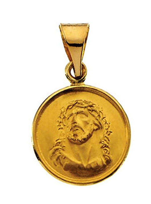 18k Yellow Gold Face of Jesus (Ecce Homo) Medal (13 MM)