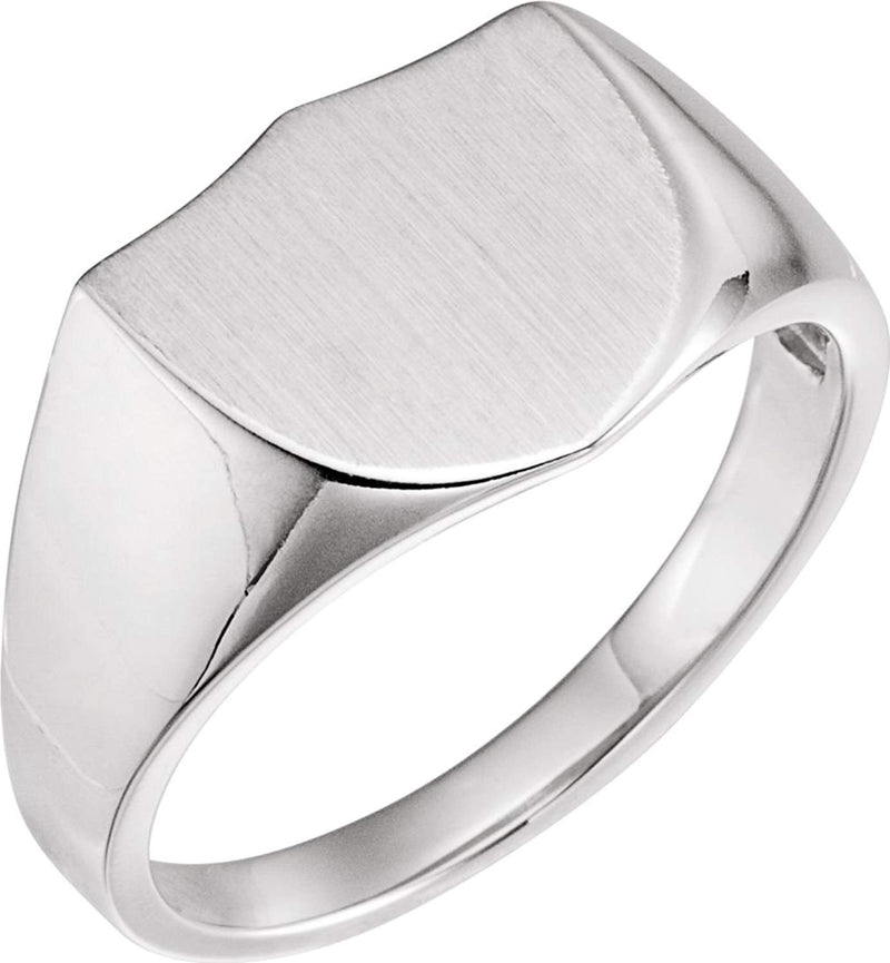 Men's Platinum Brushed Closed Back Shield Signet Ring (14mm)