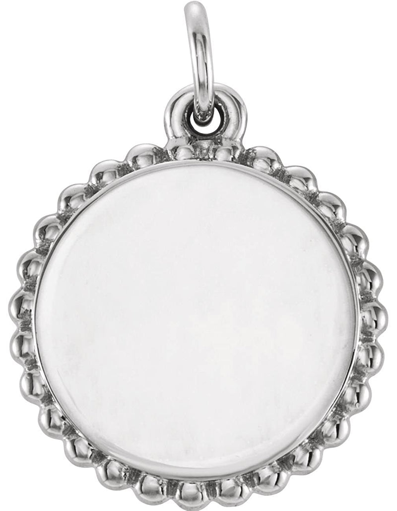 Engrave-able Round Granulated Bead Pendant, Rhodium-Plated 14k White Gold