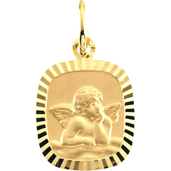 14k Yellow Gold Angel Pendant Medal (12x11 MM)