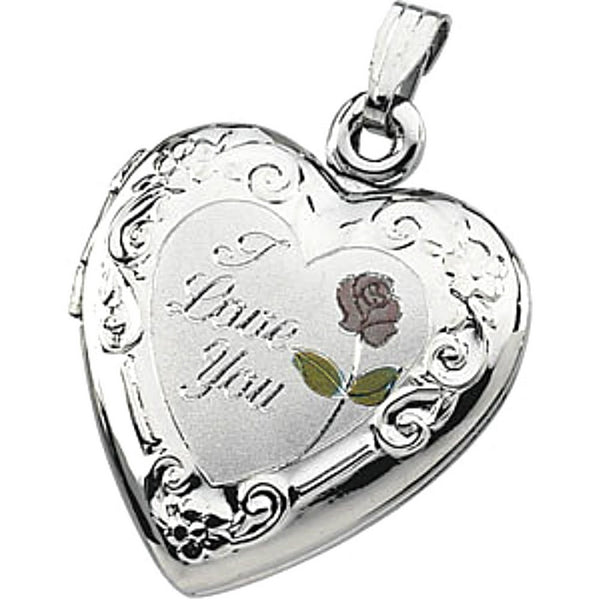Sterling Silver 'I Love You' Heart Floral Locket