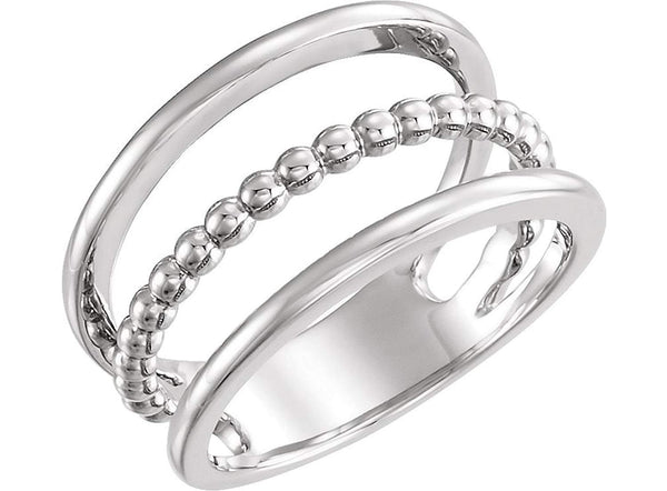 Platinum Beaded Negative Space Ring