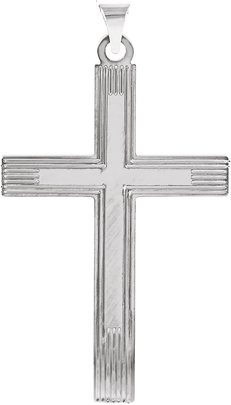 Cross with Embossed Cross Inside the Cross Sterling Silver Pendant