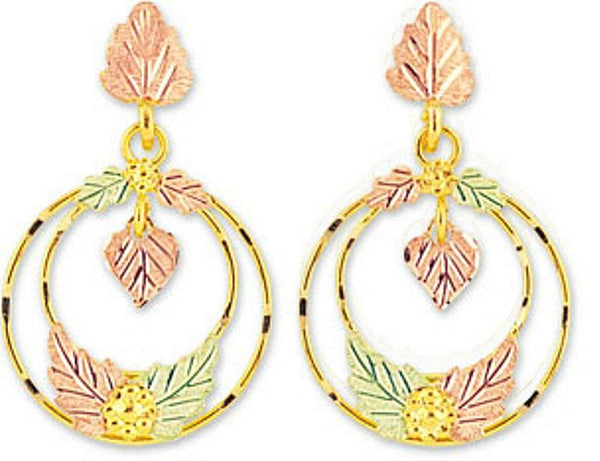 Leaf Dangle Hoop Earrings, 10k Yellow Gold, 12k Green and Rose Gold Black Hills Gold Motif