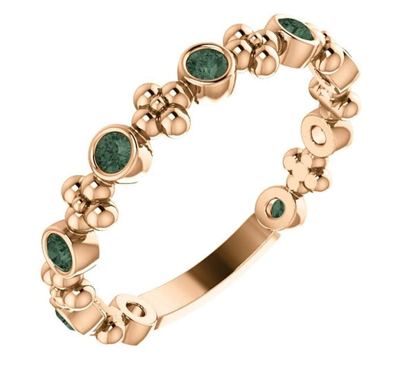 Chatham Created Alexandrite Beaded Ring, 14k Rose Gold