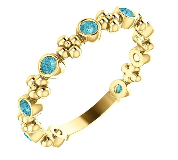 Genuine Blue Zircon Beaded Ring, 14k Yellow Gold