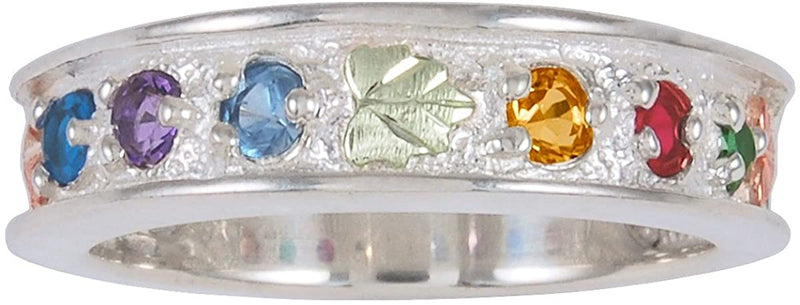 Sapphire, Amethyst, Aquamarine, Citrine, Garnet, Emerald Ring, Sterling Silver, 12k Green and Rose Gold Black Hills Gold Motif, Size 7.5