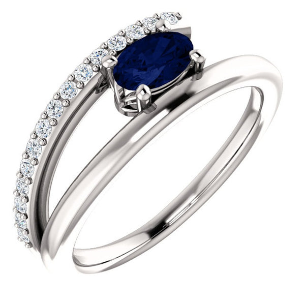 Chatham Created Blue Sapphire and Diamond Bypass Ring, Rhodium-Plated 14k White Gold (.125 Ctw, G-H Color, I1 Clarity), Size 7