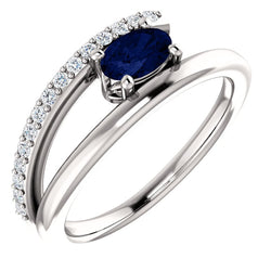 Blue Sapphire and Diamond Bypass Ring, Rhodium-Plated 14k White Gold (.125 Ctw, G-H Color, I1 Clarity)