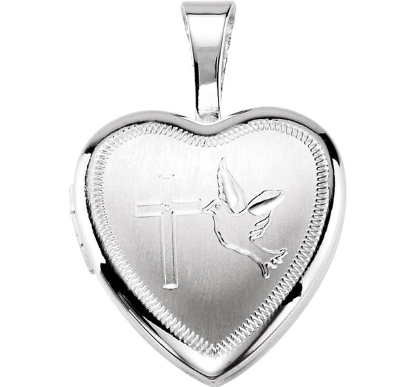 Sterling Silver Dove and Cross Heart Locket Pendant