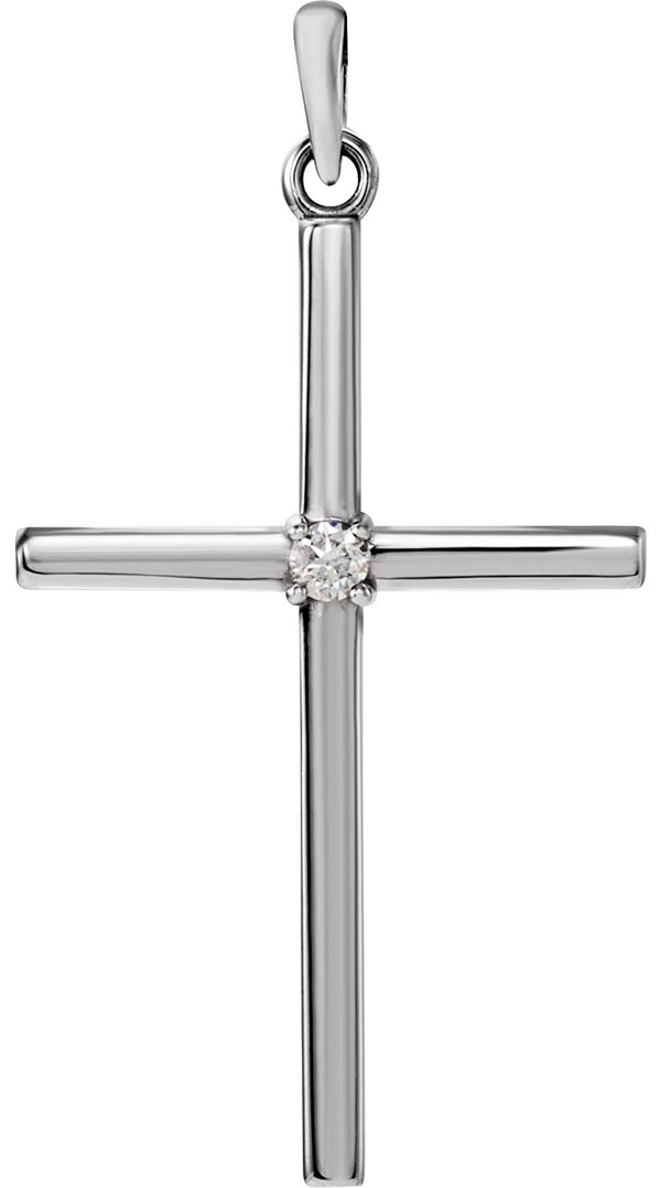 White Sapphire Inset Cross Rhodium-Plated 14k White Gold Pendant (19.2x9MM)