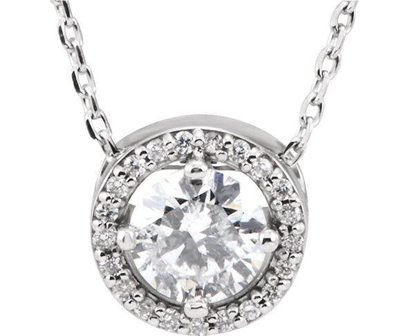 "22-Stone Diamond Halo 14k White Gold Pendant Necklace, 16"" (.50 Cttw)"