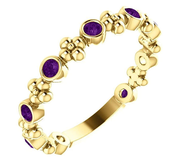 Genuine Amethyst Beaded Ring, 14k Yellow Gold