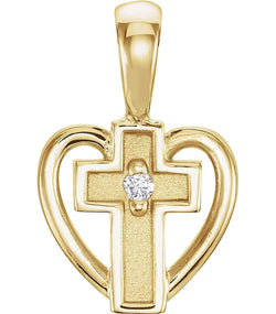 Diamond Sacred Heart of Jesus Cross 14k Yellow Gold Pendant