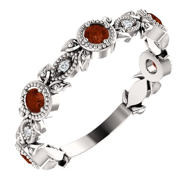 Mozambique Garnet and Diamond Vintage-Style Ring, Rhodium-Plated Sterling Silver, Size 6
