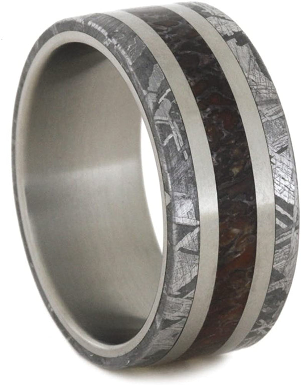 Dinosaur Bone, Gibeon Meteorite 8mm Comfort-Fit Matte Titanium Wedding Band, Size 9.5