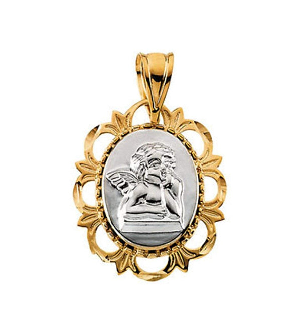 14k White and Yellow Gold Raphael Medal Pendant (19.25x16 MM)