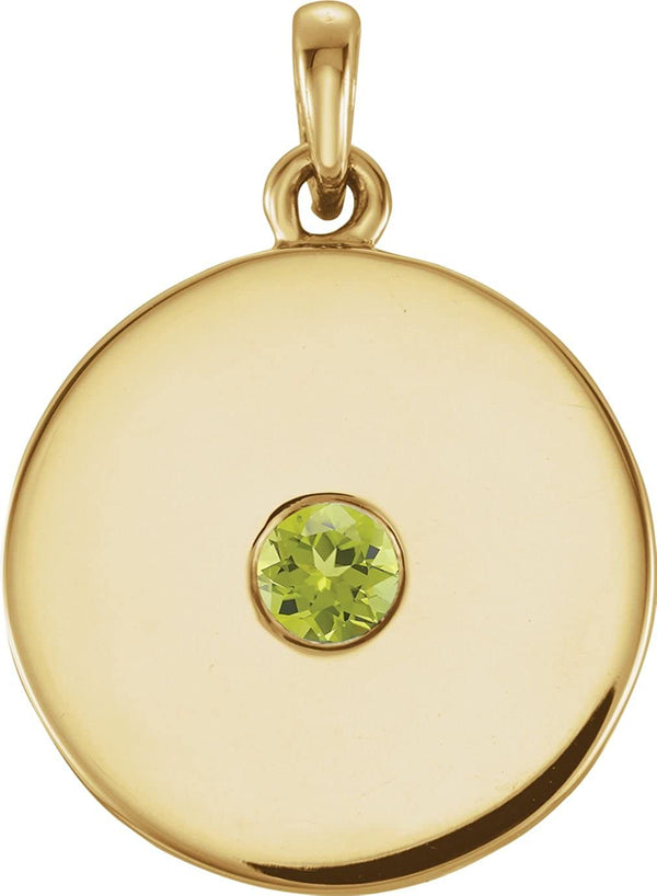 Round Peridot Disc Pendant, 14k Yellow Gold