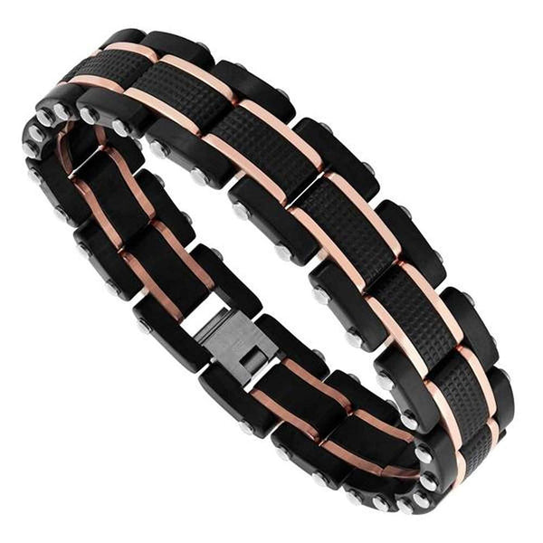 Men's Two-Tone Tri-Color Ion Plated Link Bracelet, Stainless Steel, 8.5""