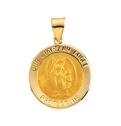 14k Yellow Gold Hollow Round Guardian Angel Medal (18.25x18.50 MM)